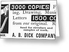 Mimeograph Ad, 1890 Greeting Card