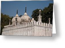 Minarets And Structure Of Pearl Mosque Inside Red Fort Greeting Card