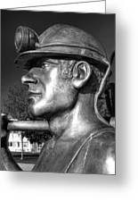 Miner Statue Monochrome Greeting Card
