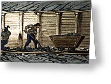 Miners In A Timbered Tunnel Greeting Card