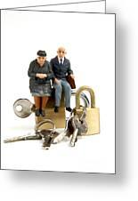 Miniature Figurines Of Elderly Couple Sitting On Padlocks Greeting Card
