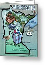Minnesota Cartoon Map Greeting Card