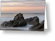 Mist Surrounding Rocks In The Ocean Greeting Card