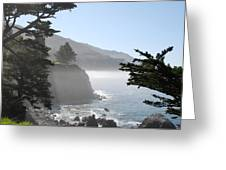 Misty Morning On The Big Sur Coastline Greeting Card by Camilla Brattemark