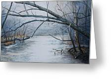 Misty Morning On The Red River Greeting Card