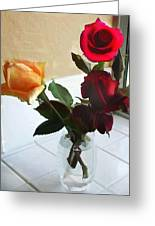 Mixed Roses In Crystal Vase Greeting Card