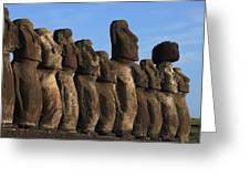 Moai Along The Coast Of Easter Island Greeting Card