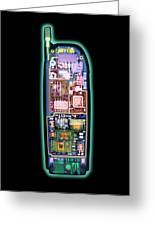 Mobile Phone, X-ray Greeting Card by D. Roberts