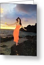 Model In Orange Dress II Greeting Card