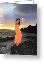 Model In Orange Dress Greeting Card