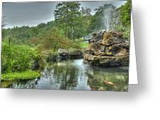 Mohonk Koi Pond On A Rainy Day Greeting Card