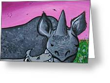 Momma And Baby Rhino Greeting Card