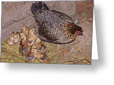 Mommy Hen And Her Brood Greeting Card