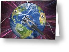 Monitoring Earth, Conceptual Artwork Greeting Card by Laguna Design