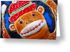 Monkey Sock Around Greeting Card