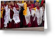 Monks Wait For The Dalai Lama Greeting Card