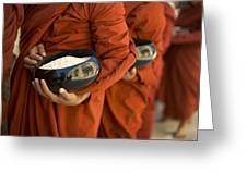 Monks With Rice Bowls, Inle Lake Greeting Card