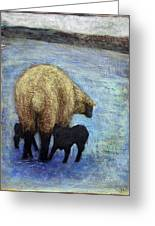 Monkton Ewe With Her Lambs In The Snowy Field Greeting Card