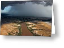 Monsoon Rains Over A Muddy River Greeting Card by Randy Olson