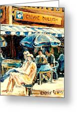 Montreal Cafe City Scenes Prince Arthur And Duluth Street Greeting Card