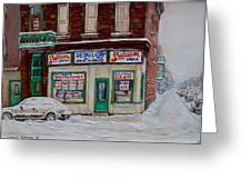Montreal Corner Market Winter Scene Greeting Card