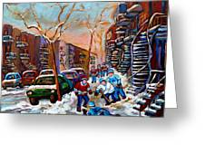 Montreal Hockey Paintings Greeting Card
