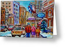 Montreal Street Scenes In Winter Greeting Card by Carole Spandau