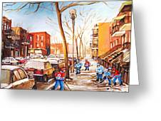 Montreal Street With Six Boys Playing Hockey Greeting Card