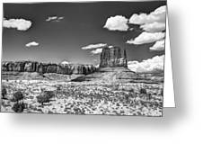 Monument Valley In Monochrome  Greeting Card