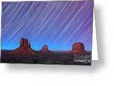 Monument Valley Star Trails  Greeting Card