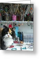 Moo Shu Cat On My Desk Greeting Card by Kristi L Randall