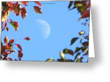Moon Amidst Red Leaves Greeting Card