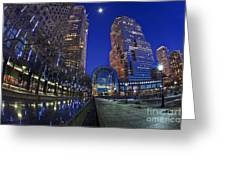 Moon Over Financial Center Greeting Card