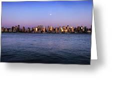 Moon Over Midtown Manhattan Skyline Greeting Card
