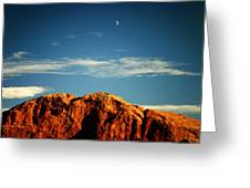 Moon Over Red Rocks Garden Of The Gods Greeting Card