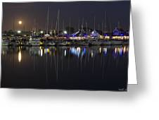 Moon Over The Marina Greeting Card