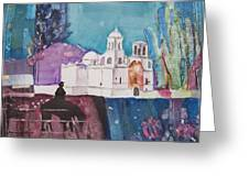 Moon Over The Mission Greeting Card by Regina Ammerman