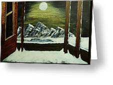 Moon Over The Mountains Greeting Card