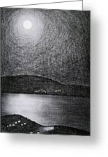 Moon Reflection On The Sea Greeting Card