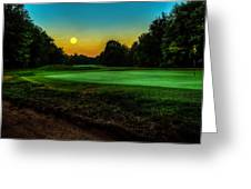 Moon Setting Over The Green Greeting Card
