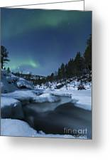 Moonlight And Aurora Over Tennevik Greeting Card