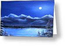 Moonlight Over The Chugach Greeting Card