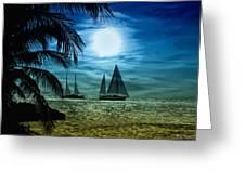 Moonlight Sail - Key West Greeting Card