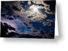 Moonlit Clouds With A Splash Of Lightning Greeting Card