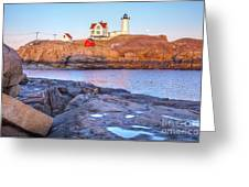 Moonrise At Nubble Light  Greeting Card
