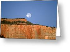 Moonrise Over East Temple - Zion  Greeting Card