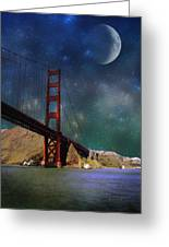 Moonrise Over The Golden Gate Greeting Card
