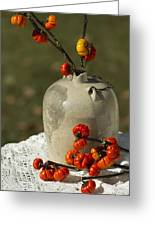 Moonshine Jug And Pumpkin On A Stick Greeting Card