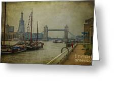 Moored Thames Barges. Greeting Card
