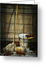Mop With Bucket And Scrub Brushes Greeting Card by Sandra Cunningham